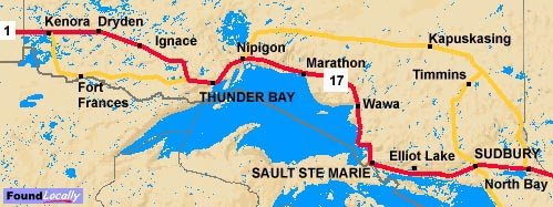 Nothern Ontario's Trans-Canada route through the North