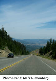 Steep slope on Crowsnest Route east of Princeton