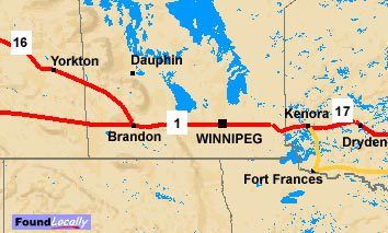 Map of Manitoba's stretch of the Trans-Canada Highway