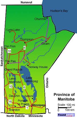 Manitoba Map On TransCanadaHighwaycom - Map of manitoba