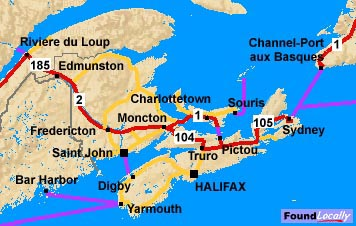 Nova Scotia Map On TransCanadaHighwaycom - Nova scotia map