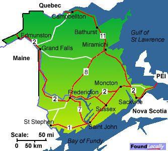 new brunswick maps on transcanadahighway