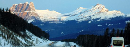 View of early morning mountains in Banff National Park