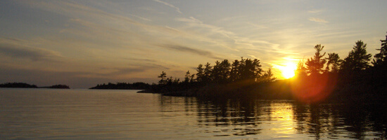 Sunset over a lake in the Canadian Shield