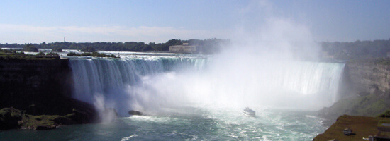 The Canadian Falls at Niagara Falls, where the rivr flows over the escarpment