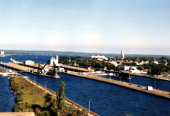 view of Soo Locks on Michigan side