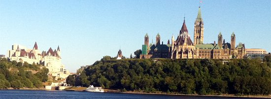 View of Chateau Laurier and Parliament Buildings