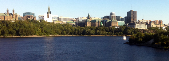 Ottawa Skyline viewed from the Chuadiere Rapids