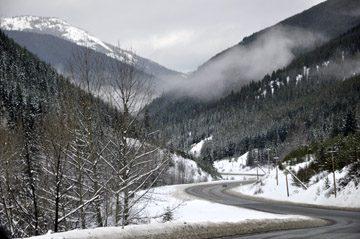 view of Crownsest Highway in Winter
