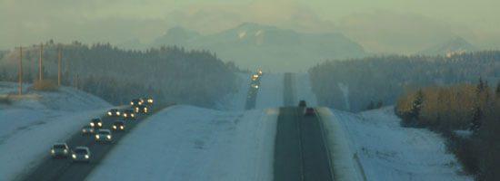 View of morning fog on Scott Lake Hill, in Alberta