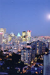 Downtwon Vancouver with moon