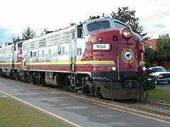 Algoma Fall Colours Train, leaving downtown Sault Ste. Marie