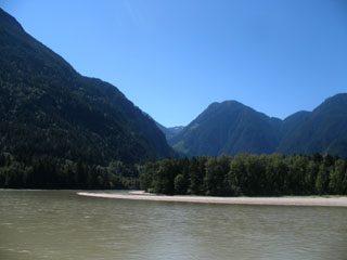 Wide bend in Fraser River, at Hope