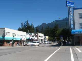 Hope BC's Main Street, just metres from the Wide Fraser River
