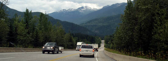 Trans-Canada toward Rogers Pass east of Revelstoke