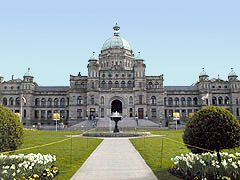 BC Parliament Buildings with fountain