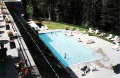 Banff Springs Hotel's pool, with view