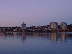 Barrie waterfront at dusk