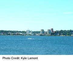 Barrie's downtown as seen from across Kempenfelt Bay on Lake Simcoe