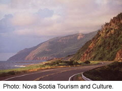 The highway along the Cabot Trail in Cape Breton National park