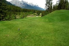 The first hole at Canmore's Stewart Creek golf course, built around an abandoned coal mine