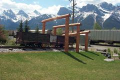 These coal cars remind visitors of Canmore's coal mining heritage