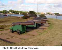 Cannons along Victoria Park are a testament to early warfare in the area