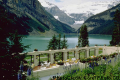 view of Lake Louise from restaurant patio at the Chateau Lake Louise
