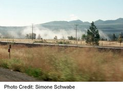 Highway 95, just north of Cranbrook with morning mist
