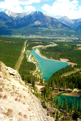 View of Canmore and Goat pond from Dam