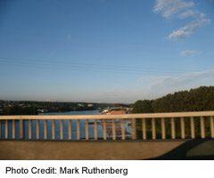 Delta's Deas Island Bridge-View Of Fraser River