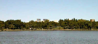 View of downtown from across Wascana Lake