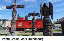 see the many totems around downtown Duncan