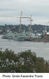 View of Esquimalt's navy yards from Fort Rodd Hill