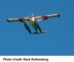 Floatplane overhead, from Lions Gate Bridge
