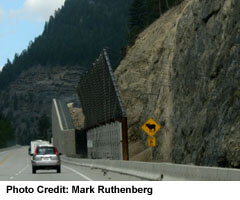 Kicking Horse Bridge Slope with large Rockslide Walls