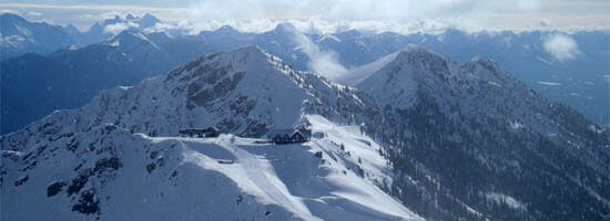 Retaurant and Chalet at the top of Kicking Horse Resort, above Golden