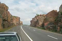Rock cut by the Trans-Canada Highway through the Canadian Shield