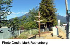 Signpost beside the Fraser River at Centennial Park