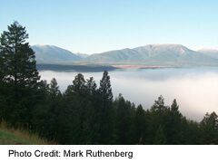 morning mist overlooking Invermere Lake, on Highway 93/95 just south of Radium