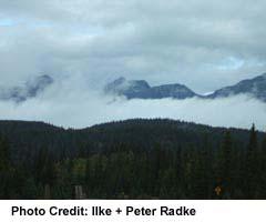 Mountais shielded by cloud, near Jasper