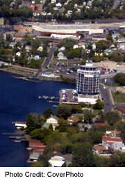 Kenora waterfont view from air