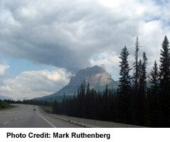 Castle Mountain, with cloud. just east of Lake Louise