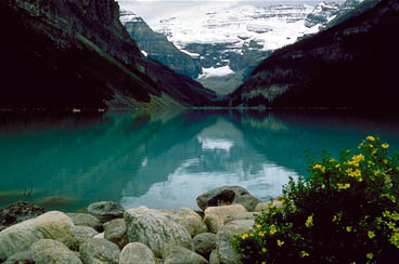 Lake Louise in Spring with view of Plain of Six Glaciers
