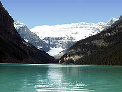 View of Lake Louise with a view up to Plain of Six Glaciers