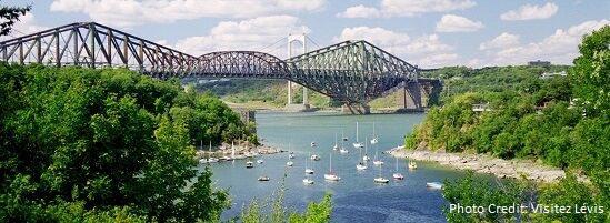 Levis - Quebec City Bridges and Marina view