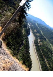 View down to Fraser River at Jackass Summit, near Lytton