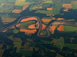 Assiniboine River snaking through farmland