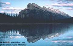 Vermillion Lake with Mt Rundle in the background