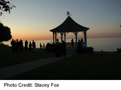 park on Lake Ontario shore, with gazebo at sunset